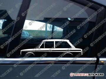 2x Car Silhouette sticker - Hillman Imp 2 door saloon classic british car